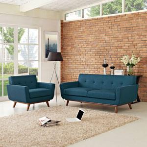 Nicollet Blue Cherry Rubber Wood Two Piece Sofa Set