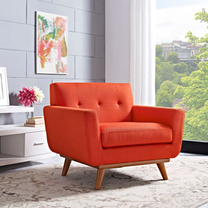 Nicollet Atomic Red Cherry Rubber Wood Arm Chair