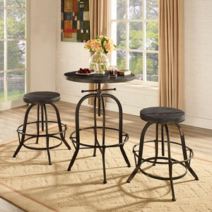 River Station Black Pine with Metal Three Piece Dining Set