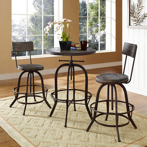 River Station Brown Pine with Metal Three Piece Dining Set