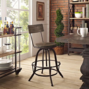 River Station Brown Pine Seat and Metal Bar Stool