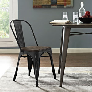 Afton Black Powder Coated Steel Dining Chair