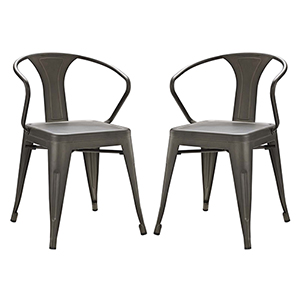 Afton Brown Powder Coated Steel Dining Chair, Set of Two