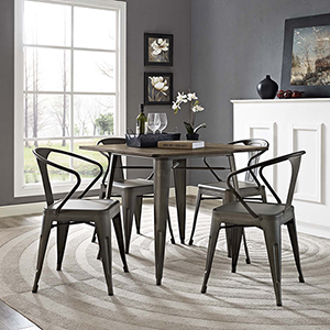 Afton Brown Powder Coated Steel Dining Chair, Set of Four