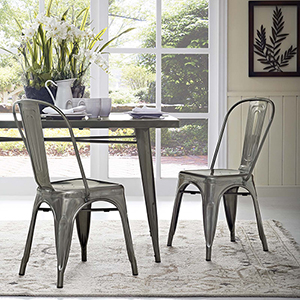 Afton Gun Metal Powder Coated Steel Dining Chair, Set of Two