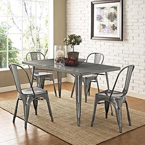 Afton Gun Metal Powder Coated Steel Dining Chair, Set of Four