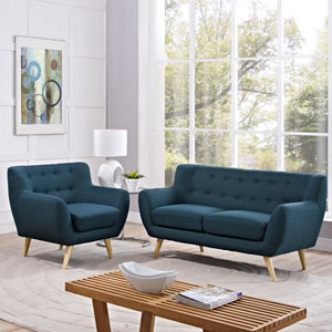 Nicollet Blue Rubber Wood Two Piece Living Room Set