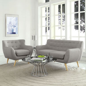 Nicollet Light Gray Polyester and Rubber Wood Two Piece Living Room Set