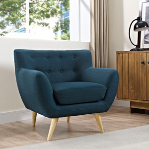 Nicollet Blue Natural Color Rubber Wood Arm Chair