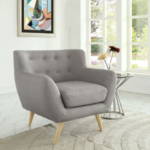 Nicollet Light Gray Natural Color Rubber Wood Arm Chair