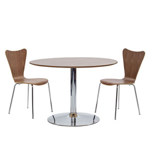 Loring Walnut Stainless Steel Three Piece Dining Set
