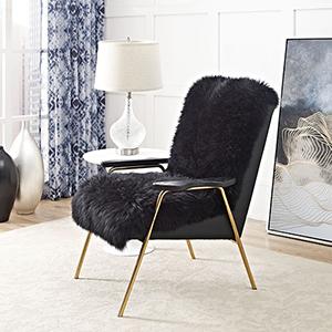 Vivian Black Wool and Oak Arm Chair