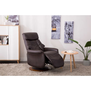 Linden Walnut Espresso Breathable Air Leather Manual Recliner