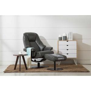 Loring Merlot Charcoal Air Leather Manual Recliner with Ottoman