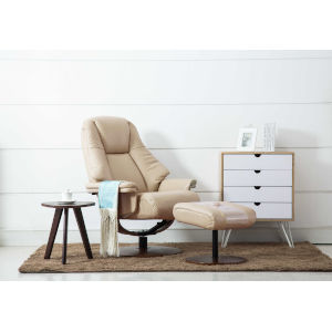 Loring Walnut Tan Breathable Air Leather Manual Recliner with Ottoman