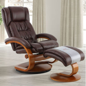 Selby Walnut Whisky Air Leather Manual Recliner with Ottoman