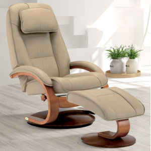 Selby Walnut Cobblestone Top Grain Leather Manual Recliner with Ottoman