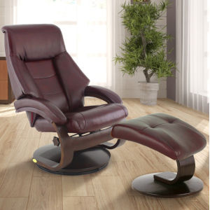 Selby Alpine Black Merlot Top Grain Leather Manual Recliner with Ottoman