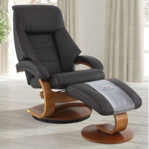 Selby Walnut Espresso Top Grain Leather Manual Recliner with Ottoman