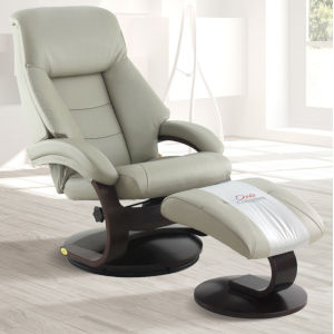Selby Alpine Black Putty Gray Top Grain Leather Manual Recliner with Ottoman
