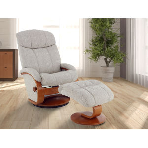 Selby Walnut Tan Linen Fabric Manual Recliner with Ottoman