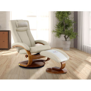 Selby Alpine Black Beige Breathable Air Leather Manual Recliner with Ottoman and Cervical Pillow