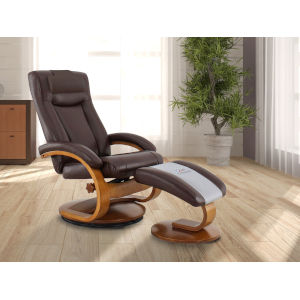 Selby Walnut Whisky Breathable Air Leather Manual Recliner with Ottoman and Cervical Pillow