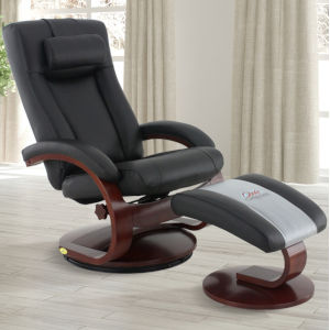 Selby Merlot Black Top Grain Leather Manual Recliner with Ottoman and Cervical Pillow