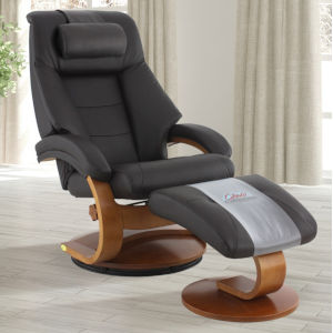 Selby Walnut Espresso Top Grain Leather Manual Recliner with Ottoman and Cervical Pillow