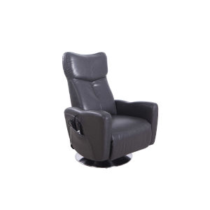 Linden Chrome Charcoal Air Leather Power Recliner