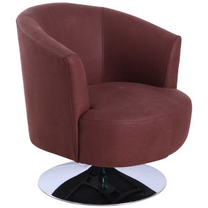 Nicollet Chrome Cocoa Fabric Armed Leisure Chair