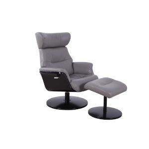 Loring Midnight Gray Breathable Air Leather Manual Recliner with Ottoman
