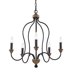 Olivia Dark Weathered Oak Five-Light Chandelier
