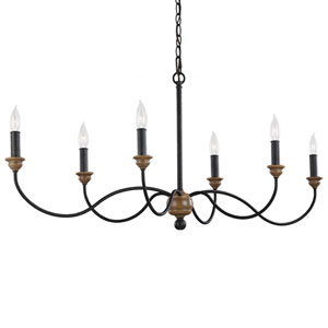 Olivia Dark Weathered Oak Six-Light Chandelier