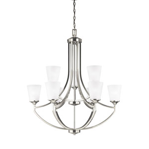 Linden Brushed Nickel Nine-Light Chandelier
