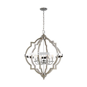 Olivia Washed Pine Six-Light Pendant Title 24