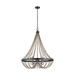 Sophia Washed Pine Five-Light Chandelier