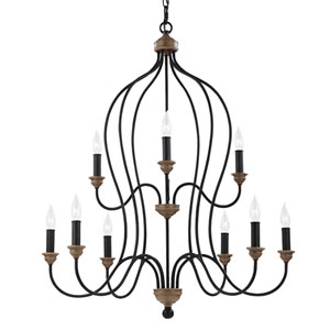 Olivia Dark Weathered Oak Nine-Light Chandelier