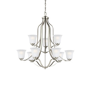 James Brushed Nickel 35-Inch Nine-Light Chandelier