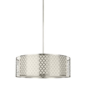 Uptown Brushed Nickel Four-Light Drum Pendant