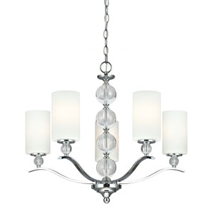 Elle Chrome and Optic Crystal 22-Inch Five-Light Single Tier Chandelier