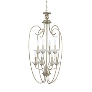 Webster Antique Brushed Nickel 20-Inch Energy Star Eight-Light Hall Foyer