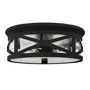 Hana Black Two-Light Outdoor Ceiling Flush Mount with Transparent Seeded Glass