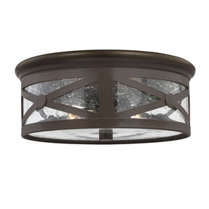 Hana Antique Bronze Two-Light Outdoor Ceiling Flush Mount with Transparent Seeded Glass