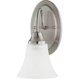 Webster Brushed Nickel One-Light Wall Sconce with Satin Etched Glass