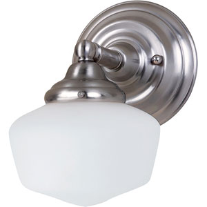 Russell Brushed Nickel One-Light Wall Mounted Bath Fixture with Satin White Schoolhouse Glass
