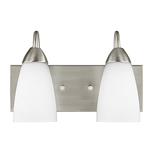 Nora Brushed Nickel 14-Inch Two-Light Bath Vanity