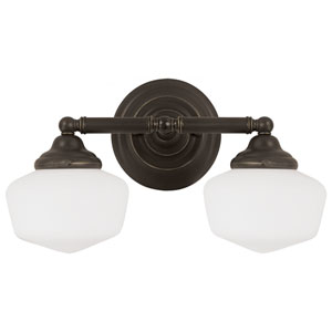 Russell Bronze Two Light Bathroom Vanity Fixture with Satin White Schoolhouse Glass