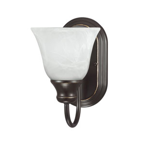 Webster Bronze One Light Bathroom Wall Sconce with White Alabaster Glass