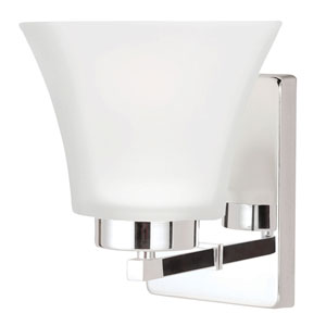 Kate Chrome One-Light Wall Sconce with Satin Etched Glass